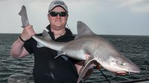 Mike Thrussell Jnr with a 20lb smoothhound caught on the HTO Lure Game
