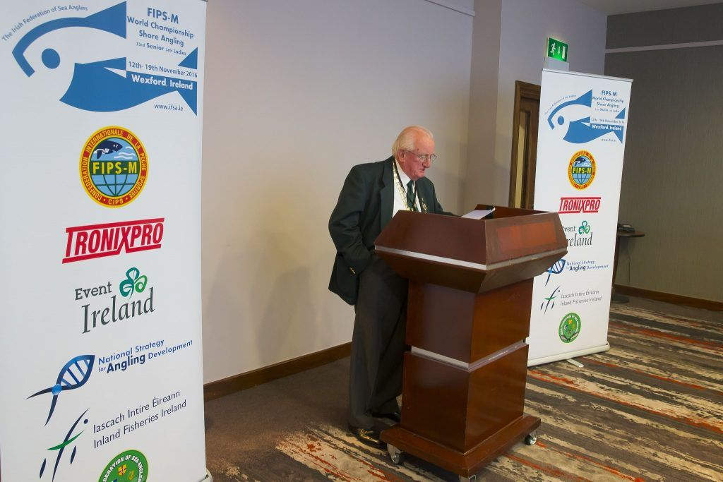 Pictured at Whites Hotel Wexford at the launch of the 2016 World Shore Angling Championships is Pat Walsh President of the Irish Federation of Sea Anglers.