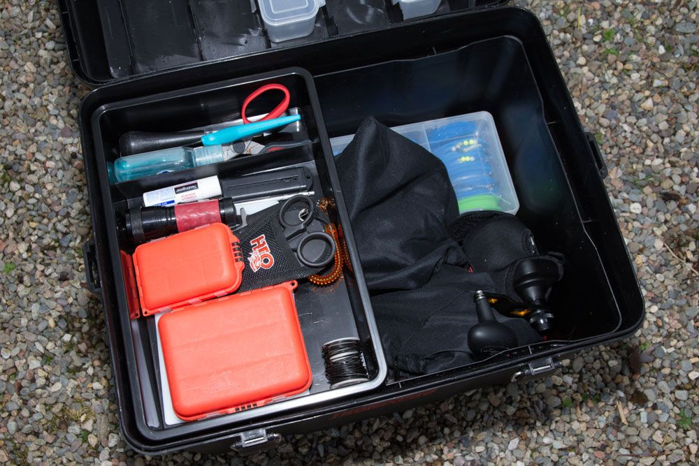 Top tray of the tackle box is ideal for storing close to hand items