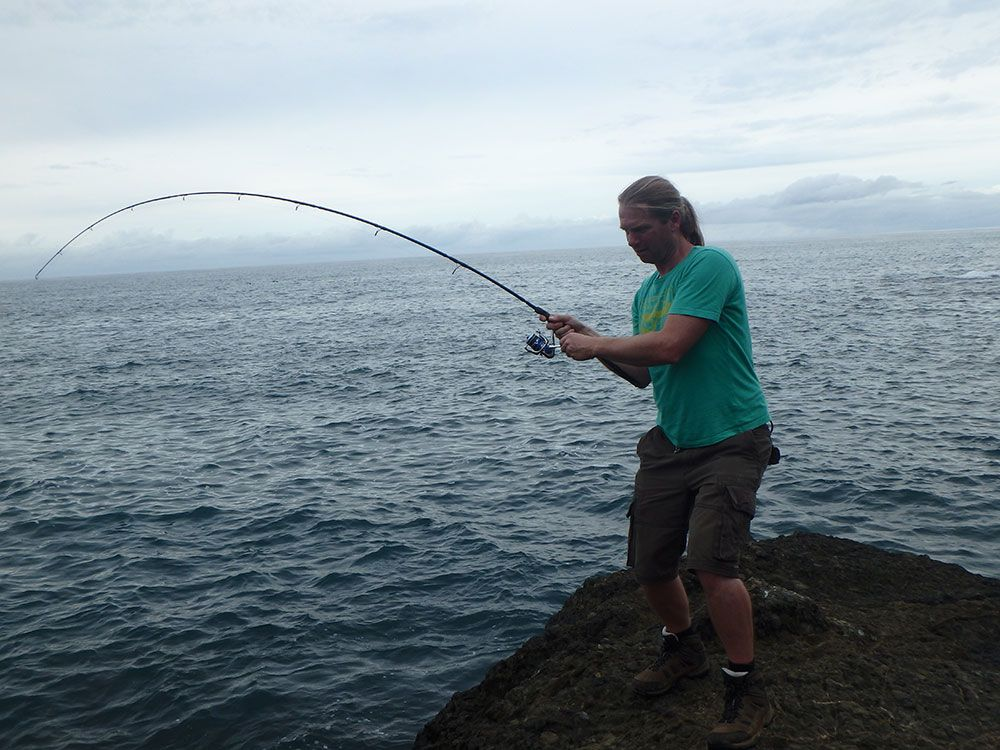 Mark playing a fish in Costa Rica